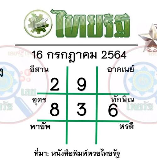 หวยไทยรัฐ-16-กรกฎาคม-64