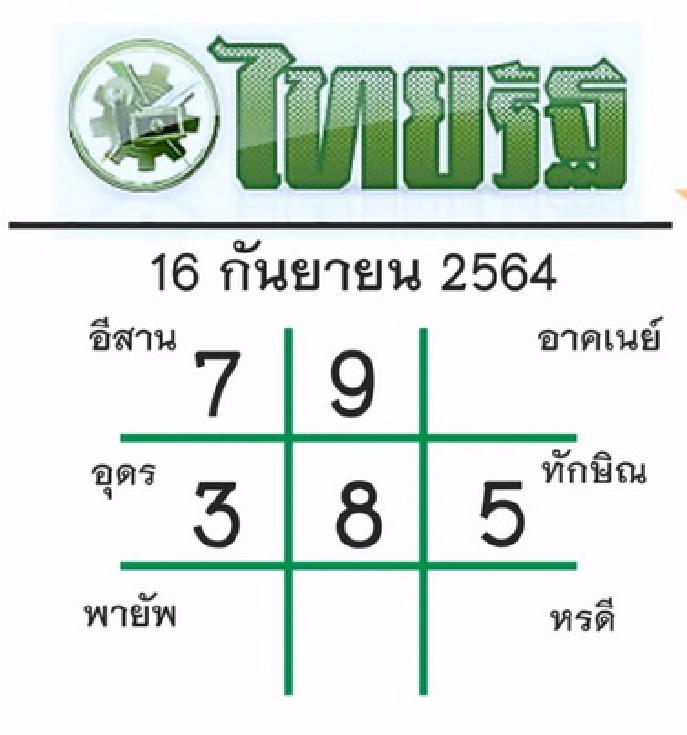 หวยไทยรัฐ  16/9/64